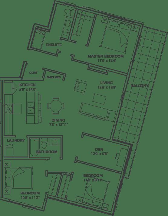 Triple Crown condo floor plans 3 bedroom + den