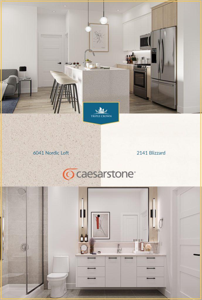 Caesarstone Quartz Countertops style 6041 Nordic Loft and Style 2141 Blizzard